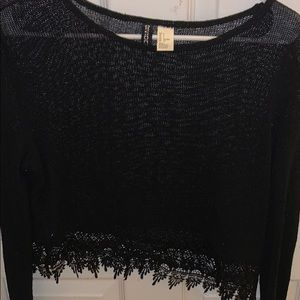 H&M Lace Trimmed Black Sweater